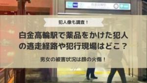 白金高輪駅で薬品をかけた犯人の逃走経路や犯行現場はどこ?男女の被害状況は顔の火傷!