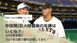 中田翔|巨人移籍後の年俸はいくら?2022年予想と2021年日割り額を計算してみた!